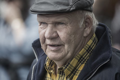 Dignified handsome older gentleman (Frank Fullard) Tags: frankfullard fullard candid street portrait face fair ballinasloe hohse cap plaid shirt old elderly gentleman expression happy age galway color colour irish ireland handsome