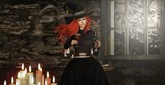 ♚ #782 ♚ (Caity Saint) Tags: tableauvivant witch salt secretposes unik wine hallowine anthem event ak akeruka blouse maitreya backdrop sl secondlife pixels avatar redhead doll