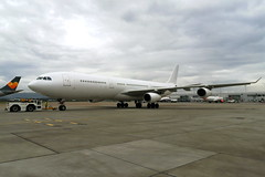 All White A340 (9H-SOL) (Fraser Murdoch) Tags: 9hsol hifly hi fly malta airbus a340300 340300 a340 a343 340 343 stand 37 tcx mt thomas cook airlines repatriation flight heavy widebody aircraft rescue tenerife tfs glasgow international airport egpf gla white livery colour scheme scotland scottish aviation plane spotting swissport push back ferry poistioner fraser murdoch huawei p8 lite 2017 summer 2019 airside