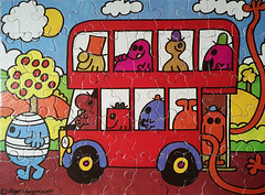 A sunny shot! (Jason 87030) Tags: fun mrmen bus doubledecker 50m pieces floor sun clouds rogerhargreaves wheels greedy bump tickle colour mister mr men cartoon artwork daughter jasmine funny humour uppity strong topsy turvey turvy silly hat trees apples