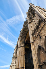 Vast diagonals (P1n24) Tags: sky blue sunny architecture tall high diagonal cathedral peterborough stone historic monument old opposite colors contrast handheld