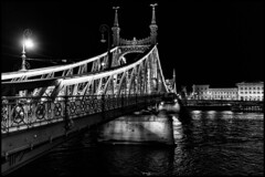 Liberty Bridge, Budapest / Мост Свободы, Будапешт (dmilokt) Tags: город пейзаж ночь река венгрия мост bridge city landscape night river hungary dmilokt чб bw черный белый black white
