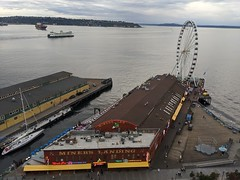 Fortunate to experience good conversations with friends/amazing team members and enjoy this view!! Beautiful city. (Seattle Department of Transportation) Tags: seattle sdot transportation donghochang waterfront viaduct gone downtown alaskanway miners landing pier big wheel ferris ferry