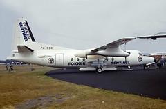 PH-FSR   Fokker F-27-400M Friendship [10655] (Fokker) Farnborough~G 07/09/1984 (raybarber2) Tags: 10655 airportdata alpechacollection cn10655 cancelled dutchcivil eglf filed flickr phfsr planebase propliner slide writtenoff