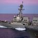 USS Lawrence pulls away from the fleet replenishment oiler USNS Rappahannock following a replenishment-at-sea