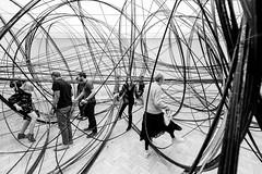 In A Tangle (Sean Batten) Tags: london england unitedkingdom blackandwhite bw candid people antonygormley nikon d800 1424 wideangle city urban lines curves artinstallation art artgallery royalacademy