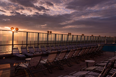 Sunset at Sea (mandyhedley) Tags: deckchairs sea seats water cruiseship sunset balmoral flickrexploreme