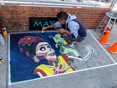 Street Artist & His Day Of The Dead Painting (J Wells S) Tags: streetartist streetart streetscene urban dayofthedead acrylics cliftonfest clifton cincinnati ohio