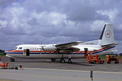 OY-APE   Fokker F-27 Friendship 600 [10443] (Alkair) Esbjerg~OY 14/06/1985 (raybarber2) Tags: 10443 airportdata cn10443 cancelled danishcivil ekeb filed flickr oyape planebase propliner raybarber slide writtenoff
