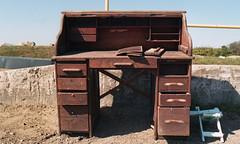 Block Island Transfer Station (neilsonabeel) Tags: blockisland rhodeisland dump transferstation desk film analogue nikonfm2 nikon nikkor trash garbage