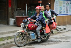 Congjiang, Basha Miao village, local transport (blauepics) Tags: china guizhou province congjiang basha agriculture landwirtschaft dorf village farmer bauern miao ethnic ethnische minority minderheit hmong meo traditional costume traditionelle tracht local einheimische transport woman frau road strasse motorcycle bike motorrad