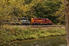 "GSMR 1751 and 711 on the rear of the excursion train by ""Jump Rock"" near the Nantahala Outdoor Center. (Railroad Gal) Tags: gsmr1751 gp9 gsmr711 gp7 geeps emd diesellocomotives railroad railfan femalerailfan railfanning nantahalaoutdoorcenter nantahalariver jumprock greatsmokymountainsrailroad gsmr passengertrain fall northcarolina smokymountains"