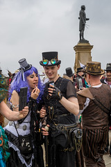 Do I need more lippy? (daveseargeant) Tags: whitby steampunk steampunks goth gothic north yorkshire coast coastal seaside sea street festival events nikon df 50mm 18g mobile phone