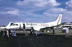 SE-E63   SAAB-Scania SF.340A [063] (Business Express) Farnborough~G  @ 02/09/1986 (raybarber2) Tags: 063 cn063 cancelled eglf filed flickr johnbabbagecollection planebase propliner see63 slide swedishcivil brokenup