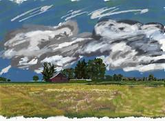 My Travel Paintings - Oregon Farmland (thor_mark ) Tags: blueskieswithclouds cloudsindistance countryside day3willamettecannonbeach grassymeadow landscape lookingne nature oldbarn oregoncountryside outside trees digitalpainting adobedraw adobeillustratordraw ipad artdigital ipadprodrawing applepencil azimuth46 cochranehistorical oregon unitedstates