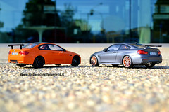 Bmw M4 vs M3 Gts (MODEL CAR PASSION) Tags: bmw m4 m3 gts gtr 4series serie3 diecast resincast model modelcars cars orange matt grey 118 jordanscars best small modellini wagen