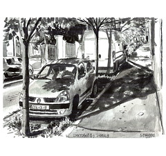 Ink09 (sylvain.cnudde) Tags: ink inktober usk urbansketch urbansketcher urbansketching uskparis croquis citysketch city renault clio sketch dessin drawing street sketchbook nuit renaultclio