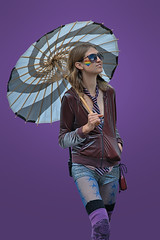 Purple Haze (Scott 97006) Tags: walk shades person umbrella jeans ripped persona tie outfit