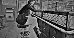 No matter where you go You can't hide from it (Miru in SL) Tags: second life sl black white photo bw bar avatar outfit shoes biches inc lapointe bastchild lb gemma leather jacket alessia mini dress mother road fair