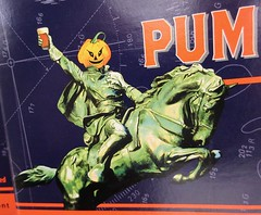 2019 Pumpkinhead Ale Beer - Sleepy Hollow Refugee Headless 5065 (Brechtbug) Tags: 2019 pumpkinhead ale beer sleepy hollow refugee headless carousel horseman bryant park behind new york public library october halloween night west side manhattan midtown 10092019 dummy costume mannequin ghost monster creature goblin wooden horse ride funhouse amusement jack o lantern pumpkin head cloak evening nite knight soldier hessian german holiday