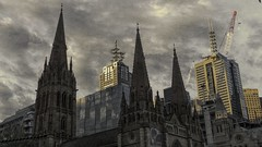 The Light Above (Mr.LeeCP) Tags: melbourne australia evening city spires church crane clouds