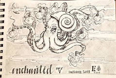 InkTober, Day 7: Enchanted (SpedBug) Tags: inktober inktober2019 inktober2019day5 ink inkdrawing drawing illustration enchanted octopus nightsky flying fireflies lamps shellhat
