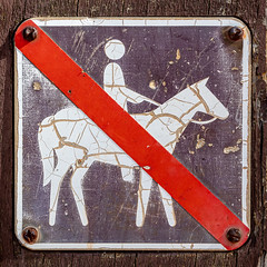 No assembly required (A Different Perspective) Tags: australia perth diagonal forbidden horse line red rider sign square texture worn