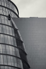 window cleaning at The Convention centre~ in Explore. ~ HWW (Wendy:) Tags: windows mono windowcleaning menatwork theconventioncentre architecture explored hww