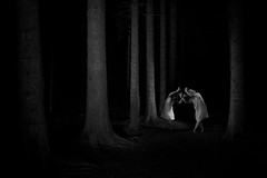 dancing souls (the ripped bystander) Tags: blackwhite female night darkness trees forest
