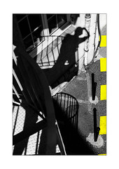 No-Man's-Land dangereuse (Armin Fuchs) Tags: arminfuchs nomansland selfy selfportrait yellow stripes staircase shadows niftyfifty anonymousvisitor thomaslistl wolfiwolf jazzinbaggies