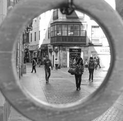 Bilbao Street Scene (savedbytheart) Tags: black white street spain bilbao
