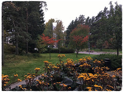 """""""Autumn in the Hood"""" (Seppo53) Tags: helsinki finland autumn suburb part flowers grass walkway tree church bench colors cross lamp"""