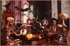 Dead Mans Poker (Bambi Chicque of BamPu Legacies) Tags: ©bampulegacies bambichicque ©tanyaelise'howardphotographygraphics cebobackdrops dad skeletons skully theplayers heathenscourtevent pumpkinandspice eclectica curiositiespumpkinspice thepumpkinhead halloweendécor gothic ancientcorridor playingcards spooky eerie secondlife blogger secondlifedesigner 3ddesigner graphicsartist photographer visualarts finearts virtualphotography fantasyart digitalphotography digitalarts creativedigitalart enchantment extraordinaire medievalfantasy roleplay fantasy secondlifeevents halloween bats blackcat halloweentown salem witch