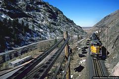 Sheephead Tunnel (jamesbelmont) Tags: unionpacific emd sd402 gateway uintah webercanyon sheepheadtunnel utah trailers oanpz train railroad railway locomotive tunnel weberriver interstate84