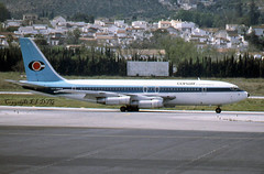 Boeing 720-051B OY-APU Conair (EI-DTG) Tags: agp malagaairport malaga 06apr1985 fourholer b720 boeing720 conair conairofscandinavia oyapu oyapy