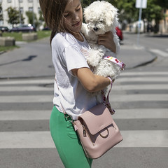 A girl with a pink purse crosses the street holding a puppy in her arms (Braca Stefanovic) Tags: square format teenage girl pink purse street photography braca stefanovic urban life walking zebra dog belgrade serbia real people europe pet w3m1e6 crosswalk crossing city