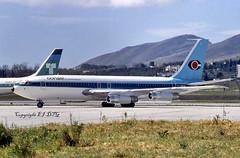Boeing 720-051B OY-APY Conair (EI-DTG) Tags: agp malagaairport malaga 06apr1985 fourholer b720 boeing720 conair conairofscandinavia oyapu oyapy