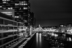 Rheinauhafen Cologne by Night (Analogpoet) Tags: kodak brownie no2 vintage fomapan 100 foma agfa rondial semistand developement night 1100 bulb exposure cologne retro analog analogue poet analogpoet film blackandwhite bw monochrom monochrome
