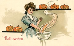 Halloween—Woman with Bowl and Jack-o'-Lanterns (Alan Mays) Tags: ephemera postcards greetingcards greetings cards paper printed halloween holidays october31 jackolanterns pumpkins orange women clothes clothing dresses bowls smoke steam hands divination fortunetelling rituals illustrations blue brown 1908 1900s antique old vintage typefaces type typography fonts hbg griggs hbgriggs artists illustrators postcardartists artistsigned series2215 postcardseries