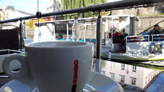 Coffee and Boat (garethtrooper) Tags: coffee caffe kava cafe boat river ljubljana