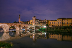 Verona at night (Vagelis Pikoulas) Tags: italy verona travel holidays tokina 2470 canon 6d landscape city cityscape river water reflection september autumn 2019 view night nightscape long exposure