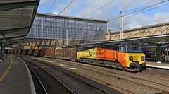 The Log Train (garstangpost.t21) Tags: 70817 6j37 logtrain carlisle carlisleyard chirk timber colasrailfreight cumbria platform4 southbound