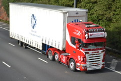 Broadhurst Transport Scania J55BHT - M60, Stockport (dwb transport photos) Tags: broadhursttransport scania hgv truck j55bht m60 stockport