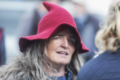 Middle-aged elf (Frank Fullard) Tags: frankfullard fullard candid street portrait elf cap hat red middleaged lol ballinasloe face fair galway irish ireland expression mischevious color colour