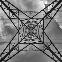Pylon 1 (Joseph Pearson Images) Tags: pylon esher surrey square geometric blackandwhite mono bw lookingup