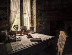 Travel planning... (Marco Bontenbal (Pixanpictures.com)) Tags: urbex urban urbanexploring photography abandoned decay decayed hidden history house pixanpictures lost nikon d7100 tokina 1530 beautiful natural naturallight light mysterious window desk book lonely travel planning
