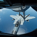 An F-15C Eagle is refueled by a KC-135 Stratotanker
