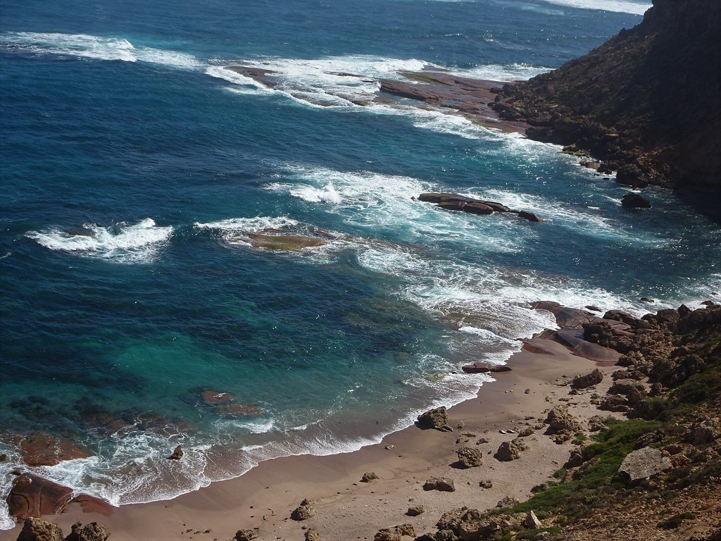 Point Labatt near Streaky Bay.  Rugged cliffs and rocky outcrops on the beach which is home to an Australian Sea Lion colony.