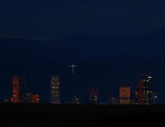 October 6, 2019 - The Mount Lindo cross over Denver at twilight. (Bill Hutchinson)