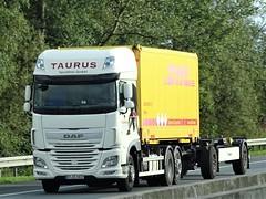 DAF XF116 superspacecab from Taurus spedition Germany. (capelleaandenijssel) Tags: stcc1037 drawbar dhl truck trailer lorry camion lkw